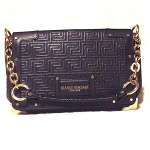 Gianni Versace Madonna pantent leather black bag